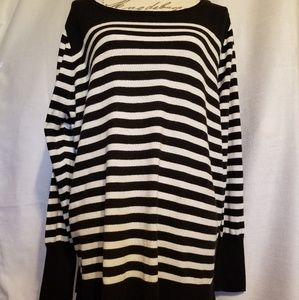 Ana black & white stripe sweater, size 2X